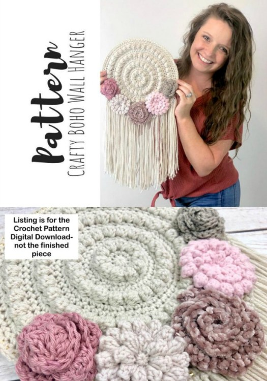 Crafty crochet boho round wall hanging pattern. Round like a dream catcher. DIY your own wall decor!  #crochetwallhanging #bohowallhanging #macrame #macramewallhanging #crochetwalldecor #crochetpattern #craftevangelist