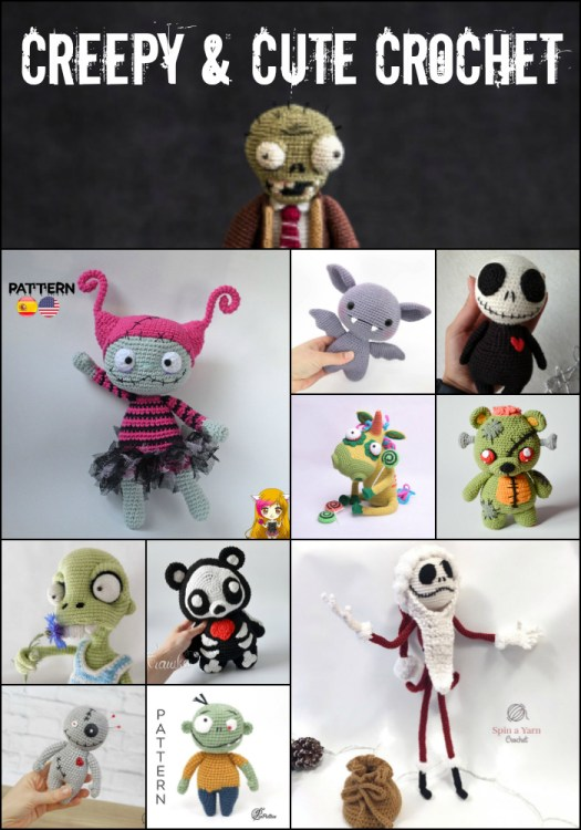 Cute and creepy crochet amigurumi patterns, perfect handmade toys for Halloween! Zombies, bats and Jack Skellington! So many great patterns! #crochetpattern #zombies #halloweencrochet #yarn #crafts #craftevangelist