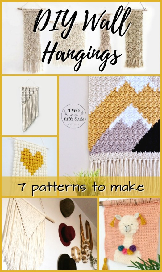 Crocheted and macrame wall hangings patterns. Great collection of tapestry crochet and boho macrame wall hangings! Can't wait to make one of these!