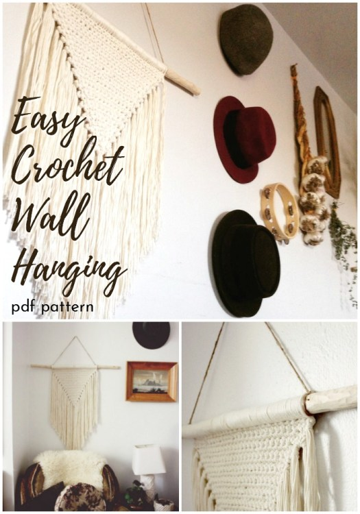 Super simple and easy crochet wall hanging pattern. Perfect DIY boho wall decor! #crochetwallhanging #bohowallhanging #macrame #macramewallhanging #crochetwalldecor #crochetpattern #craftevangelist