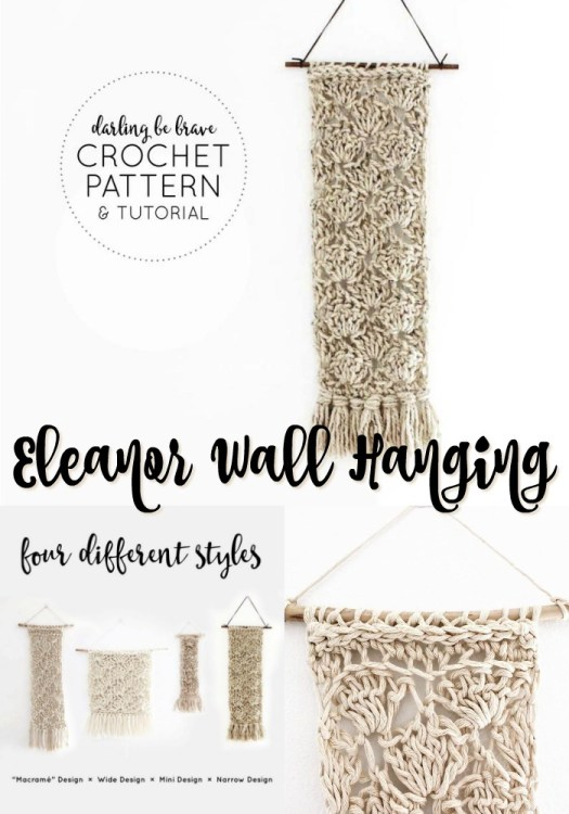 Eleanor wall hanging crochet pattern with full tutorial and lots of photos. Comes with four different styles and sizes! #crochetwallhanging #bohowallhanging #macrame #macramewallhanging #crochetwalldecor #crochetpattern #craftevangelist