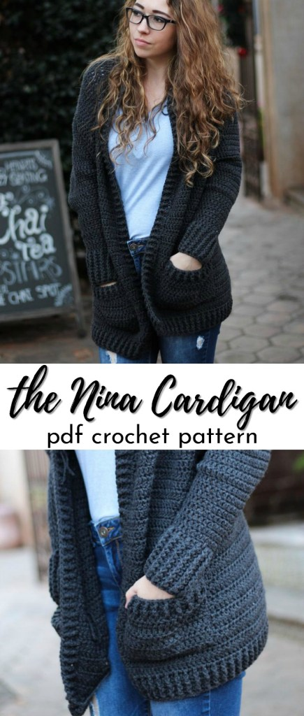 The Nina Cardigan crochet pattern. Love this simple design and pockets! #cardiganpatterns #cardigan # crochetcardigan #crochetpattern #craftevangelist