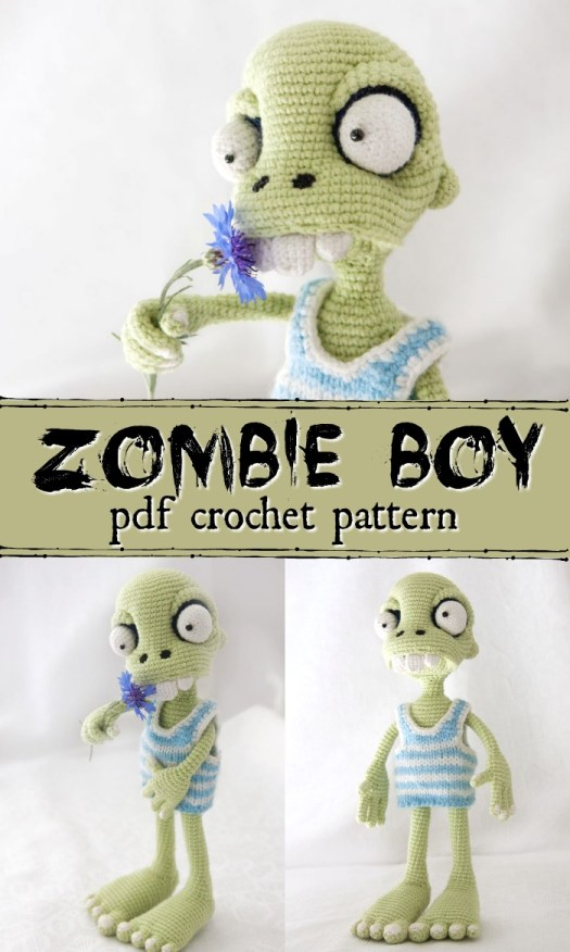 Zombie Boy crochet amigurumi pattern. This guy is so creepy and fun... perfect gift for my nephew! #crochetpattern #zombies #halloweencrochet #amigurumipattern #yarn #crafts #craftevangelist