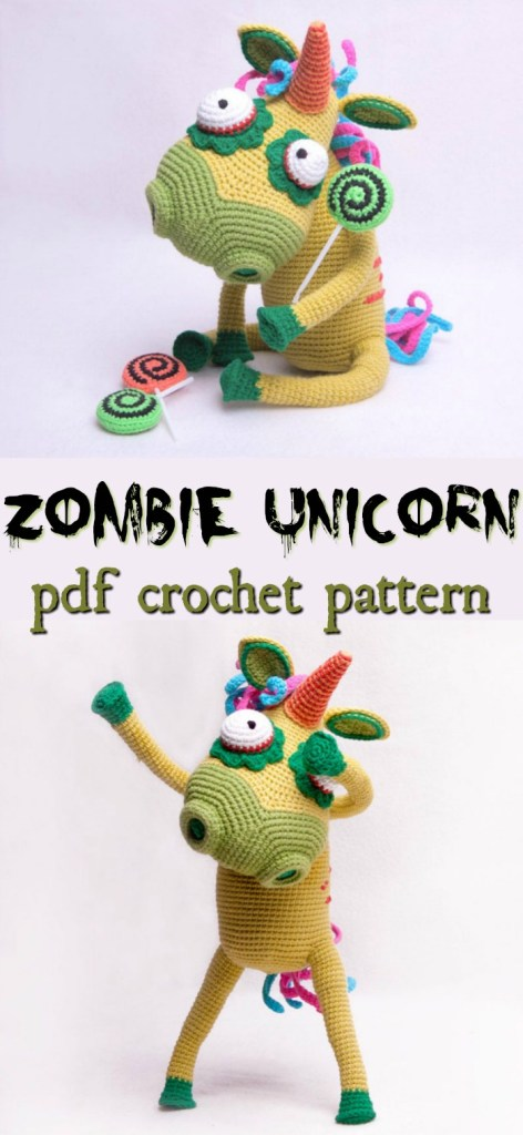Adorable zombie unicorn crochet amigurumi pattern! So much fun. I love her mesmerizing lollipops and buggy eyes! #crochetpattern #zombies #halloweencrochet #amigurumipattern #yarn #crafts #craftevangelist