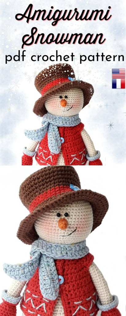 Super adorable crochet pattern for this sweet amigurumi snowman. Lovely crocheted christmas gift idea. He would make a great decoration or toy for children of all ages. Very sweet. I love his little vest! #crochetpattern #amigurumipattern #crochettoy #handmadegifts #handmadechristmas #handmadeholidays #handmadegiftideas #yarn #crafts #craftevangelist