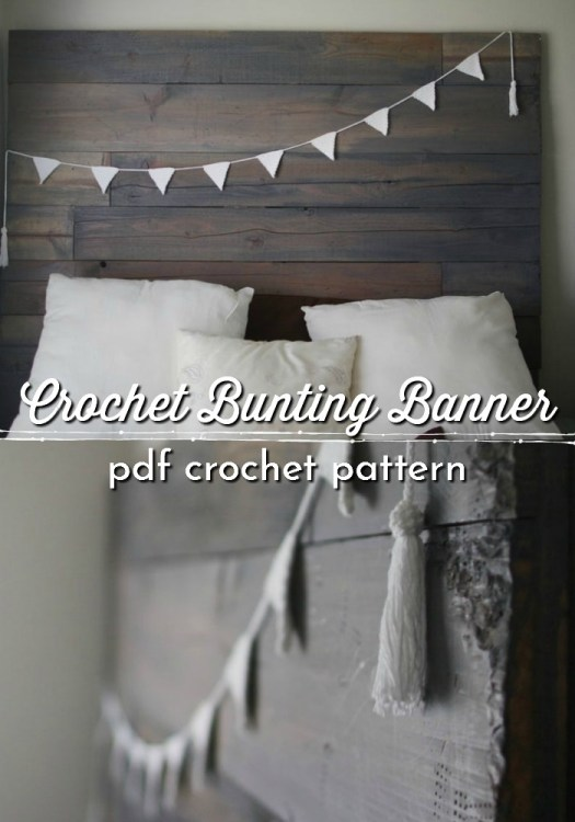 Crochet Bunting Pattern. This simple and easy triangle shaped bunting banner crochet pattern is perfect for the beginner and creates a modern and minimalist rustic homey vibe.  Make your own with this beginner pattern. #crochetpatterns #crochetbunting #crochetbanner #farmhousestylecrochet #farmhousestyle #craftevangelist