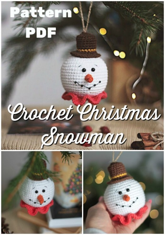 Adorable and simple little Snowman ornament crochet pattern. These would be awesome to make for craft fairs or co-worker gifts! I love to make handmade gifts for friends! #crochetchristmas #crochetpattern #crochetornament #crochetdecorations #christmascrochet #craftevangelist