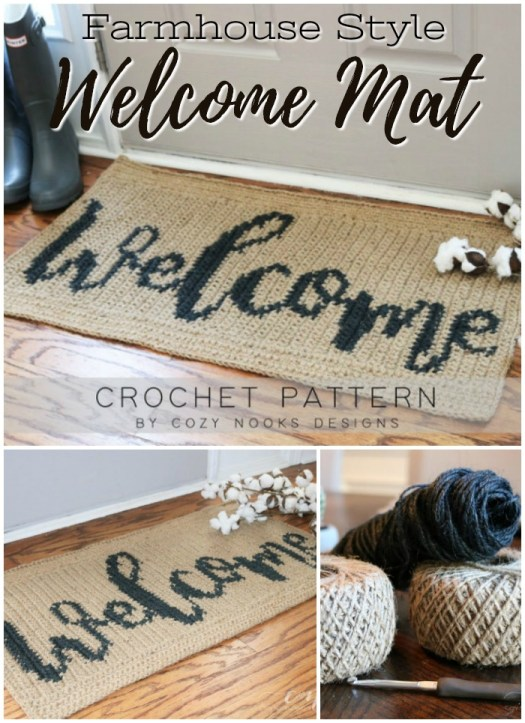 Farmhouse style welcome mat crochet pattern. I love the rustic and timeless beauty of the jute and it's so durable What a pretty pattern for your front door! #crochetpatterns #christmascrochet #farmhousestylecrochet #farmhousestyle #crochetChristmas #craftevangelist #crochetrug #welcomemat #crochetwelcomemat