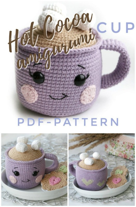 Such a cute amigurumi crochet pattern! A mug of hot cocoa pattern! I love the cute little face and I need to find that cookie pattern! Adorable! #crochetpattern #amigurumipattern #playfood #amigurumiplayfood #hotcocoa #hotchocolate #diytoys #yarn #crafts #craftevangelist
