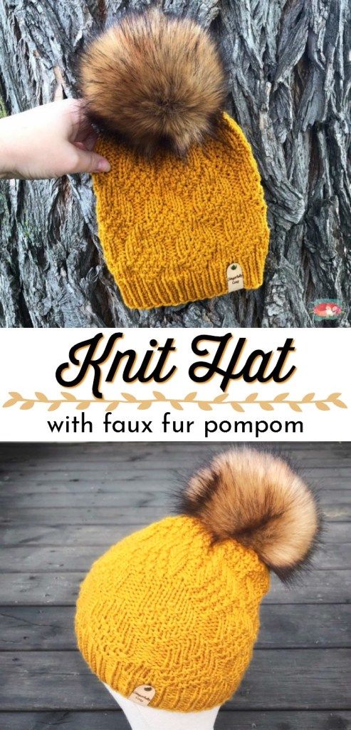 Gorgeous textured knit hat with giant faux fur pompom! I love everything about this hat. Pre-order, made to order handmade in Canada custom beanie! Perfect gift idea! #knithat #handmadegift #handmadegiftideas #craftevangelist