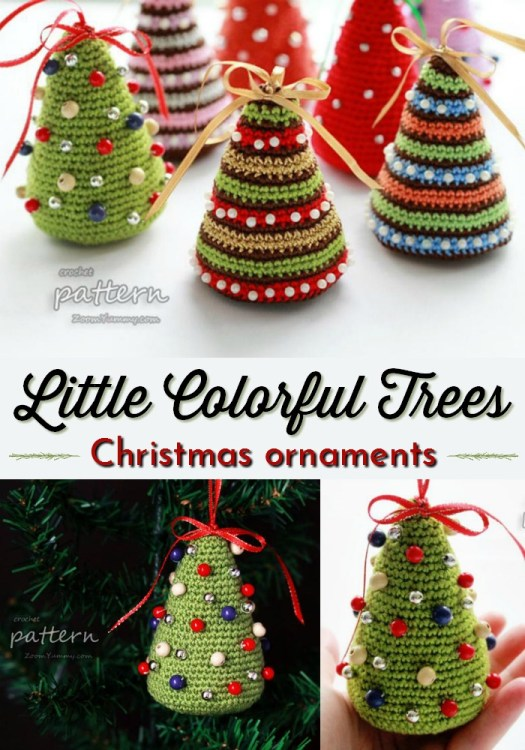Sweet little colorful tree Christmas ornaments. A quick crochet pattern for Christmas decorations. These would be great for craft sales. I love the beads! #crochetchristmas #crochetpattern #crochetornament #crochetdecorations #christmascrochet #craftevangelist