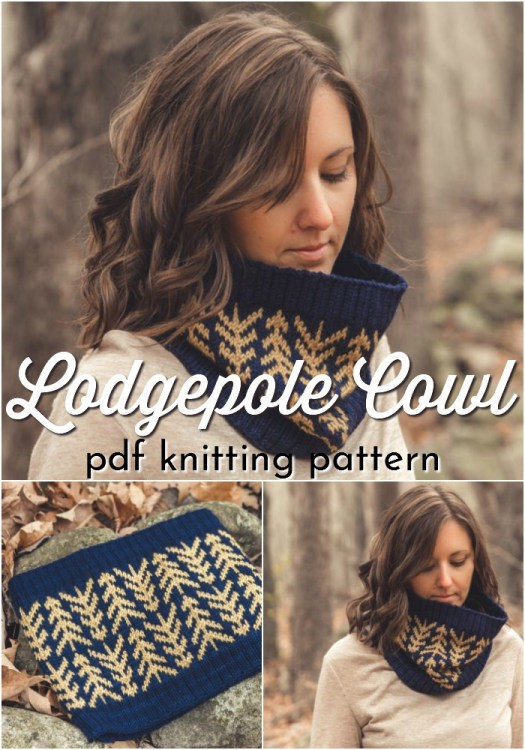 Knitting pattern for worsted weight color work cowl, the Lodgepole Cowl with a modern stranded color work simple pine tree design. Gorgeous! Would work up quickly for a quick handmade gift idea! #knittingpattern #knitcowl #cowlpattern #yarn #crafts #handmadegifts #craftevangelist