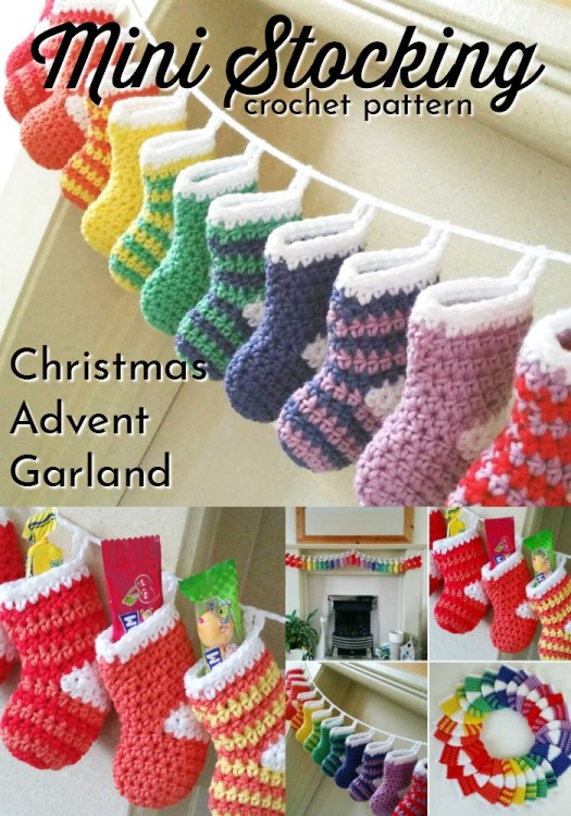 Adorable mini stocking crochet pattern would make a perfect advent calendar or just make a couple and they'd be cute tree ornaments! Christmas stockings are such great decorations! So fun for kids! #crochetchristmas #crochetpattern #crochetornament #crochetdecorations #christmascrochet #craftevangelist