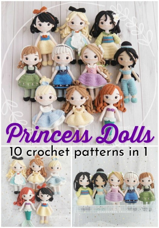 Super gorgeous collection of crocheted amigurumi princess doll patterns! Love these gorgeous Disney-inspired dolls! So fun! #crochetpattern #amigurumipattern #amigurumidolls #princesspatterns #crochetprincess #crochetpatternbundle #patternbundle #craftevangelist