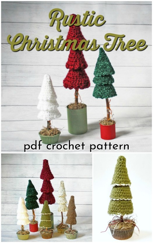 Cute and simple rustic Christmas tree crochet pattern. I love this crafty look. This would make a perfect quick handmade gift for a friend or coworker. Wouldn't a cluster of these look great as Christmas mantle decor? #crochetpatterns #christmascrochet #farmhousestylecrochet #farmhousestyle #crochetChristmas #craftevangelist #crochetdecor #Christmastree #DIYChristmas