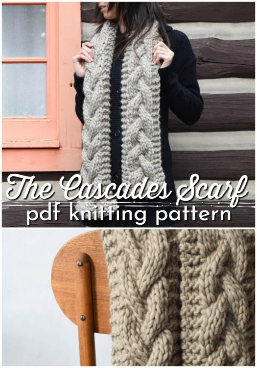 The Cascades Scarf pattern is a great knitting pattern for your first cable knitting project. One big braided cable down the middle and chunky yarn makes this scarf come together quickly. #knitpattern #scarfpattern #knitscarf #pdfpattern #craftevangelist