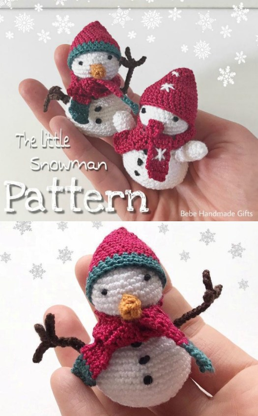 Sweet little snowman crochet pattern. I love this little amigurumi snowman, perfect little Christmas ornament for a handmade gift! #crochetchristmas #crochetpattern #crochetornament #crochetdecorations #christmascrochet #craftevangelist