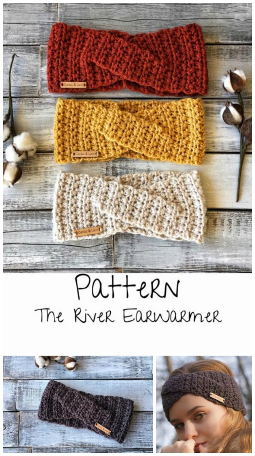 The River Ear Warmer crochet pattern. Love this twisted headband for winter. Room for ponytails and top knots! #earwarmer #crochetpattern #crochetheadband #headband #headbandpattern #earwarmerpattern #crochetearwarmer #craftevangelist