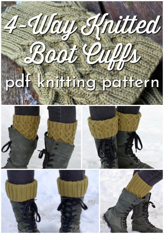 4 way knitted boot cuffs knitting pattern. Cable knit when worn one way, ribbed knit when worn another way and fold them over for 2 more styles! Love this versatile cable knit boot cuffs pattern! #knittingpattern #knitting #knitbootcuffs #bootcuffs #legwarmers #cableknit #craftevangelist