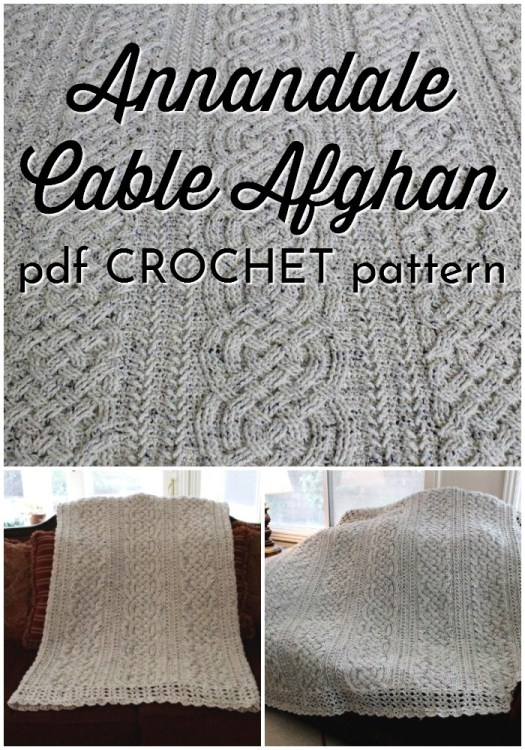 The Annandale Cable Afghan in CROCHET! Yes, this cabled blanket pattern is crocheted! I love it! What a fun and interesting pattern to work on during the holiday break! #crochetblanketpattern #crochetcables #crochetpattern #crochetblanket #crochetafghan #afghanpattern #craftevangelist
