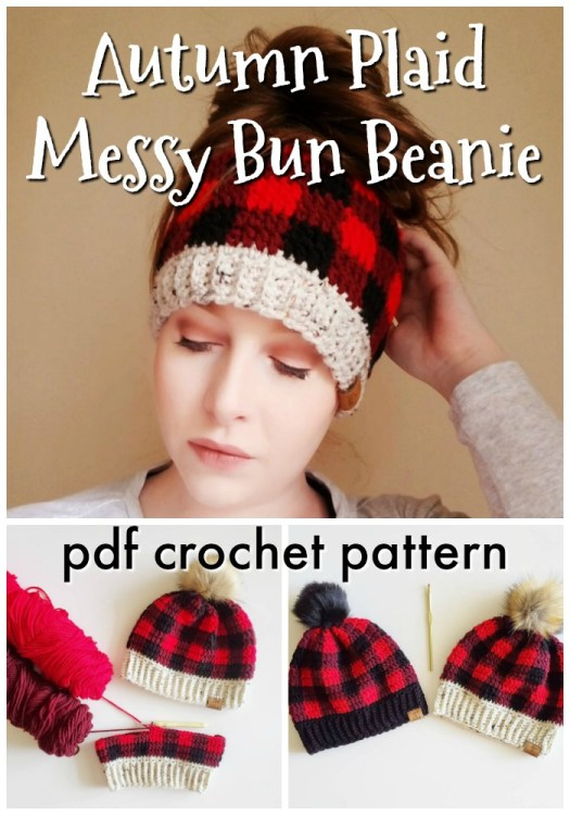 Messy Bun Beanie crochet pattern in buffalo plaid! How adorable is this? I love this funny messy bun toque! All my friends need one of these for Christmas! #crochetpattern #crochetbeaniepattern #beaniepattern #messsybunbeanie #messybunhat #toquepattern #crochethat #crochetplaid #craftevangelist