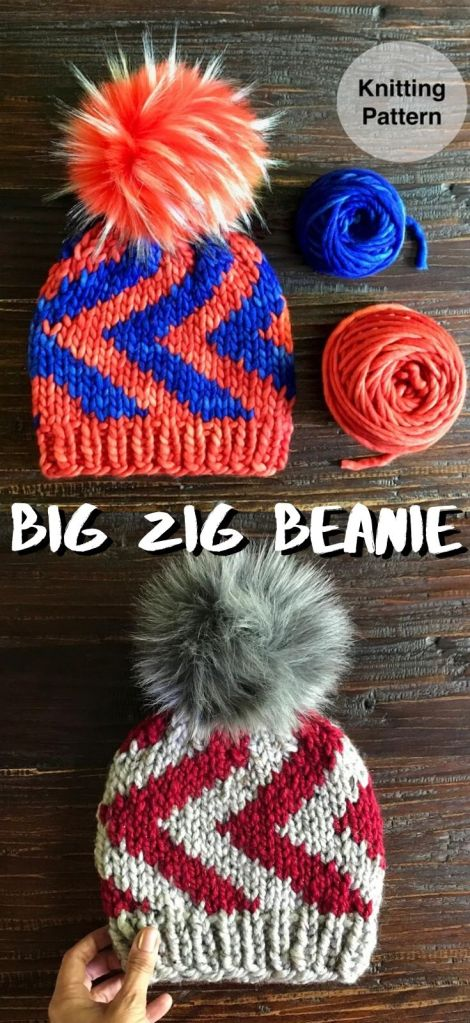 Super bulky weight yarn knitting pattern for this big zig beanie! Love the big bold colours that this pattern can handle. Perfect hat for a kid! Love the big colourful pom! #knittingpattern #knittoque #knitbeanie #zigbeanie #bigzigbeanie #beaniepattern #toquepattern #winterhat #winterhatpattern #knithat #craftevangelist