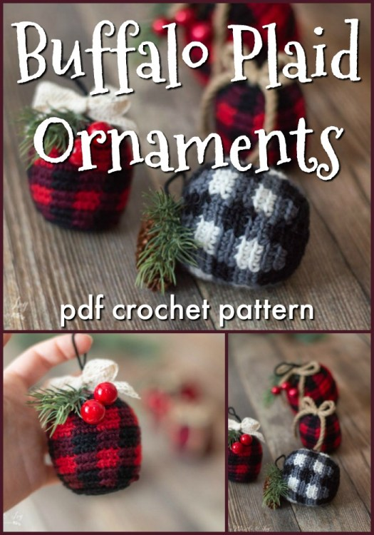 Super cute adorable buffalo plaid ornaments! These are a perfect stash-busting crochet project, working up quickly, so they make great last minute gifts suitable for just about anyone! #crochetpattern #crochetornament #crochetchristmas #christmascrochet #buffaloplaid #plaidcrochet #crochetplaid #craftevangelist