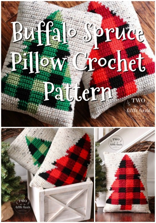 Buffalo Spruce Pillow Crochet Pattern. Love this classic buffalo plaid design on these cute Christmas trees adorned on these lovely throw pillows. These would look great in my living room at Christmastime! #crochetpattern #crochetplaid #plaidcrochet #crochetpillow #crochetChristmas #Christmascrochet #crochetdecor #craftevangelist