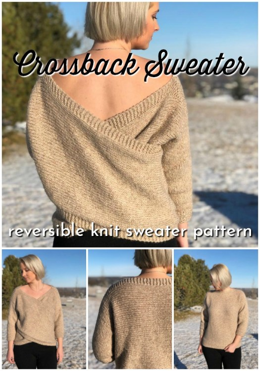 Gorgeous reversible knit sweater pattern with crossback. Deep V sweater in front or in back. Lovely sweater pattern to make for yourself over the holiday break. #knittingpattern #sweaterpattern #knitsweater #knitatude #craftevangelist