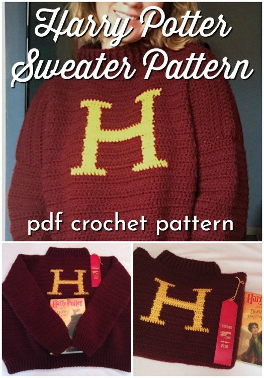 Harry Potter Sweater Pattern in Crochet! You can crochet your own Mrs Weasley Gryffindor sweater pattern! How fun is this? #crochetpattern #harrypottercrochetpattern #harrypottersweater #sweaterpattern #gryffindorsweater #mrsweasleysweater