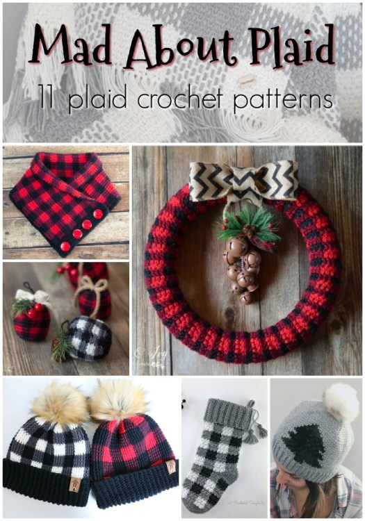 Crochet Plaid Pattern Round Up of 11 crochet patterns to make with this classic plaid technique! Love these fun patterns! #crochetpattern #buffaloplaid #pattern #craftevangelist