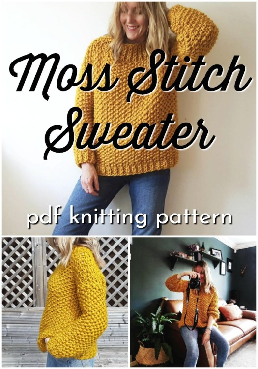 Moss Stitch Sweater pattern. This knitting pattern uses super bulky yarn so it knits up quickly for this soft and cozy knitted jumper pattern. I can't wait to make one of these! So cute! I love moss stitch! #knittingpattern #knitsweater #sweaterpattern #knitsweaterpattern #craftevangelist