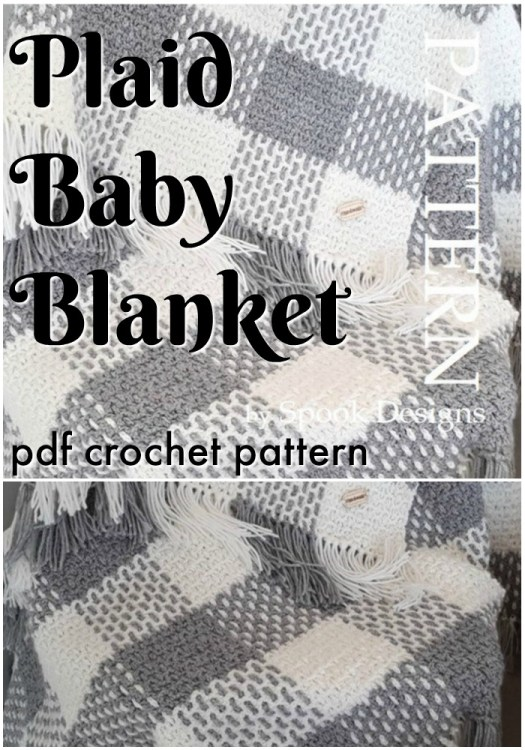 Super cute woven plaid baby blanket crochet pattern I love the look of this textured crochet stitch for this cozy looking blanket. Can't wait to have some time to try it out! #crochetpattern #plaidcrochet #babycrochet #crochetforbaby #blanketpattern #crochetblanket #craftevangelist