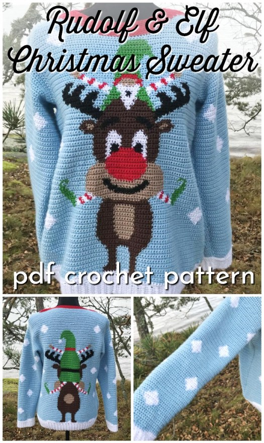 Fun ugly Christmas sweater to crochet! Love this fun crochet Christmas sweater pattern! Super fun to make during the Christmas break so you're all ready for next year's ugly Christmas sweater party. #christmassweater #uglychristmassweater #crochetsweaterpattern #crochetpattern #sweaterpattern #christmassweaterpattern #crochetchristmassweaterpattern #craftevangelist