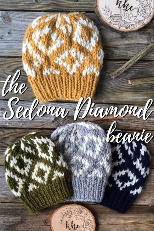 The Sedonat Diamond beanie knit hat pattern. Fun colourwork pattern in a super bulky yarn, quick knit and perfect project for a beginner to start into colourwork. I love these projects because they work up quickly and use up leftover yarn! #colorwork #knittingpattern #knittoque #knitbeanie #knithatpattern #hatpattern #beaniepattern #knitting #craftevangelist