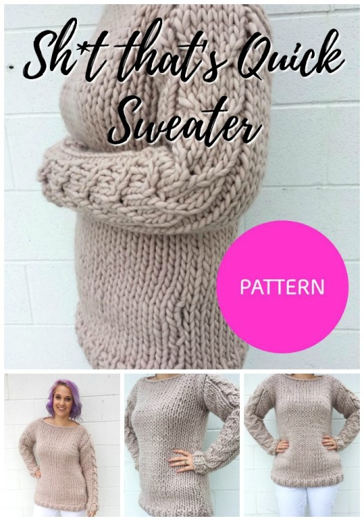 Super quick sweater knitting pattern with cable-knit sleeves! Knit with super bulky yarn, this comes together so quickly! Love this gorgeous simple design! #knitsweater #cableknit #knittingpattern #sweaterpattern #knitsweaterpattern #knitting #knitatude #craftevangelist