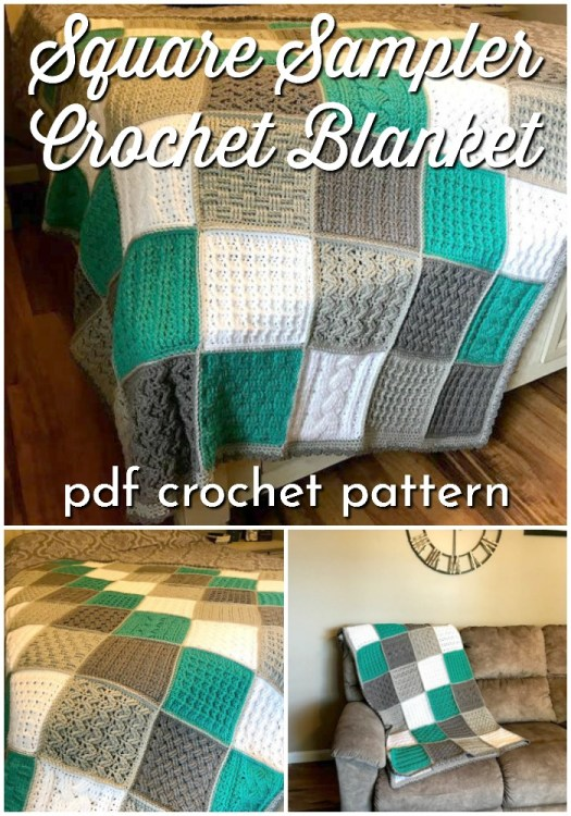 Square Sampler Crochet Blanket Pattern. I love the multiple textured crochet stitches used in this pretty crochet sampler blanket. Such a lovely pattern to work on during the holiday break #crochetblanket #crochetpattern #crochetafghan #crochetsampler #blanketpattern #crochetblanketpattern #crochetafghanpattern #craftevangelist