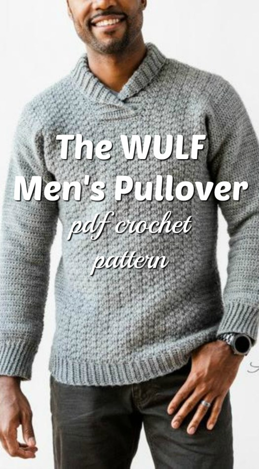Lovely crocheted men's sweater pattern. I love the texture on this gorgeous classic men's crocheted sweater pattern. Great winter break project! #crochetsweater #crochetformen #mensweater #crochetmenssweater #sweaterpattern #crochetpattern #craftevangelist