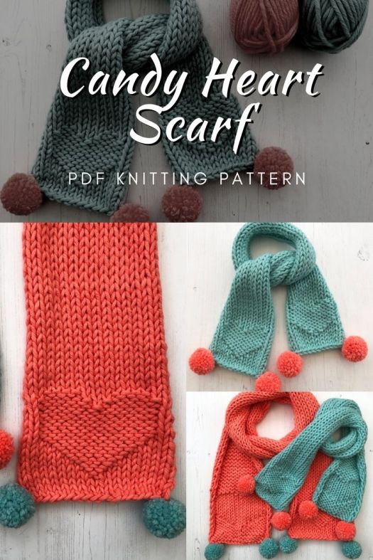 Adorable little candy heart scarf knitting pattern. The little pompoms on the end are such a nice touch! This looks like an easy knitting pattern and would make a great toddler scarf! Super fun valentines day handmade gift idea! #knittingpattern #knitscarf #scarfknittingpattern #knitscarfpattern #knitting #craftevangelist