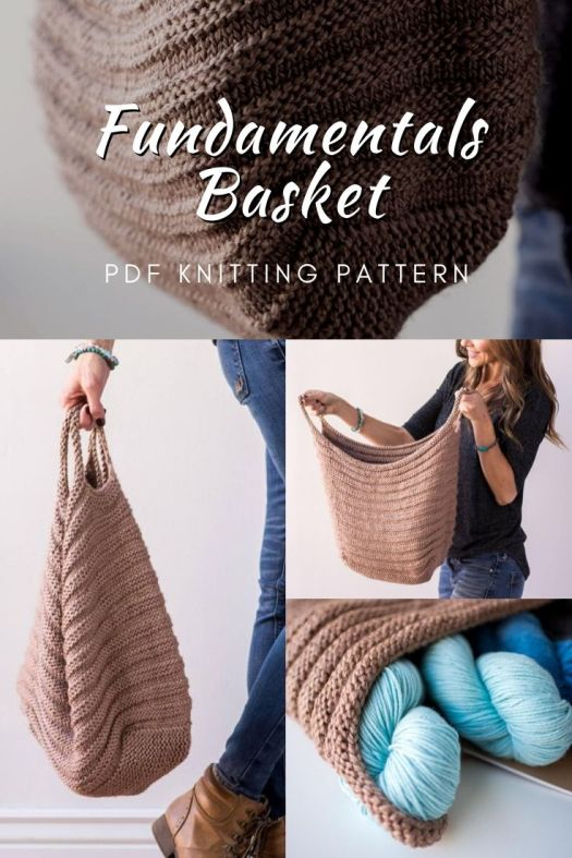 Excellent knitting pattern for this gorgeous Fundamentals Basket knit bag. This would make an excellent project bag! #knittingpattern #knitpattern #handbagpattern #knithandbag #knitbasket #knit #craftevangelist