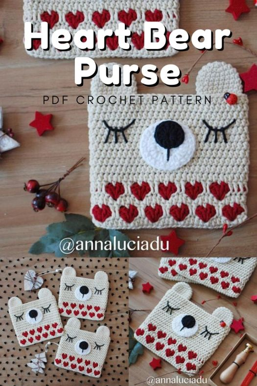 Sweet little heart bear purse crochet pattern. What a fun and quick little gift idea for a valentines day gift for a child. I love this sweet littie bear purse! #crochetpattern #crochetpurse #bearpurse #heartpurse #craftevangelist