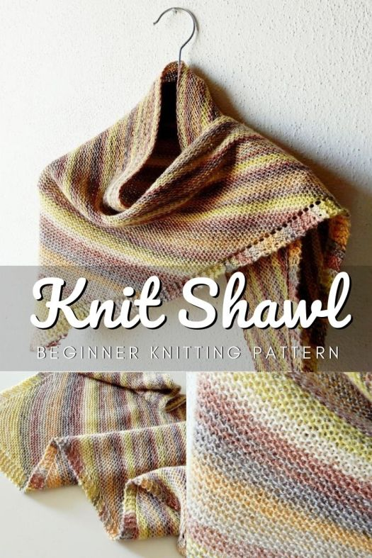 Gorgeous simple knitting pattern for this triangle shawl beginner knitting pattern. Easy knitting pattern perfect to learn to knit! #easyknittingpattern #beginnerknittingpattern #beginnerknits #learntoknit #craftevangelist