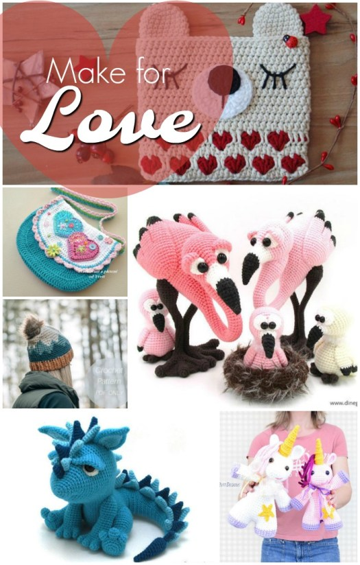 Patterns to knit and crochet for Valentine's Day. I love this adorable collection of patterns! Great ideas for what to make for loved ones for valentine's day! That dragon is ADORABLE!!! #crochetpatterns #knittingpatterns #valentinesday #amigurumipattern #pursepatterns #knit #crochet #craftevangelist