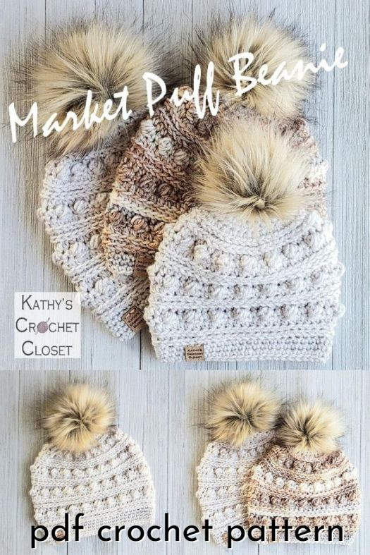 "The Market Puff Beanies are crocheted with worsted weight yarn and a size J crochet hook. The design features rows of puff stitches that create a beautiful texture. The Market Puff Beanie is the second design in my ""market"" series. They are called market hats because they are worked top-down with an easy brim, and they make up quickly to sell at markets or craft fairs. #crochetpattern #crochetbeanie #crochetbeaniepattern #beaniepattern #crochettoque #toquepattern #craftevangelist #patternroundup"