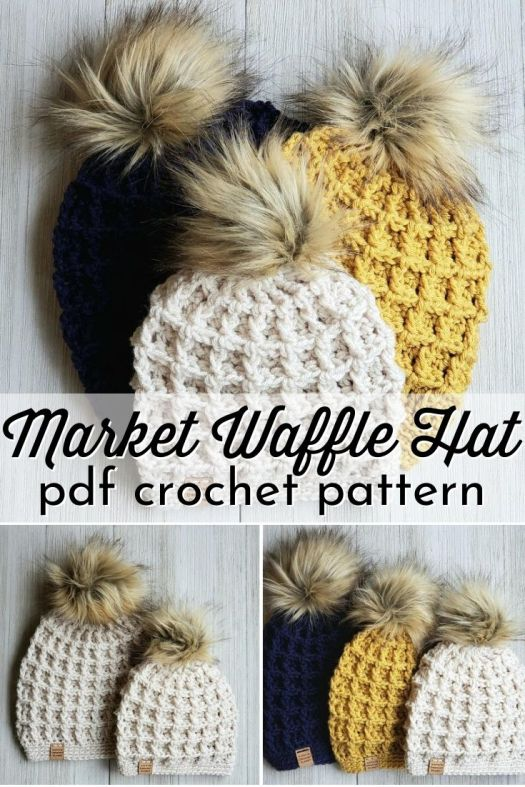 The Market Waffle Hats work up so quickly, you will want to make a bunch of them for your next market or craft fair. The three sizes allow you to make hat sets for Mommy and me, or big sister and me! #crochethat #crochetbeanie #crochettoque #crochetpattern #hatpattern #beaniepattern #toquepattern #crochet #craftevangelist #patternroundup