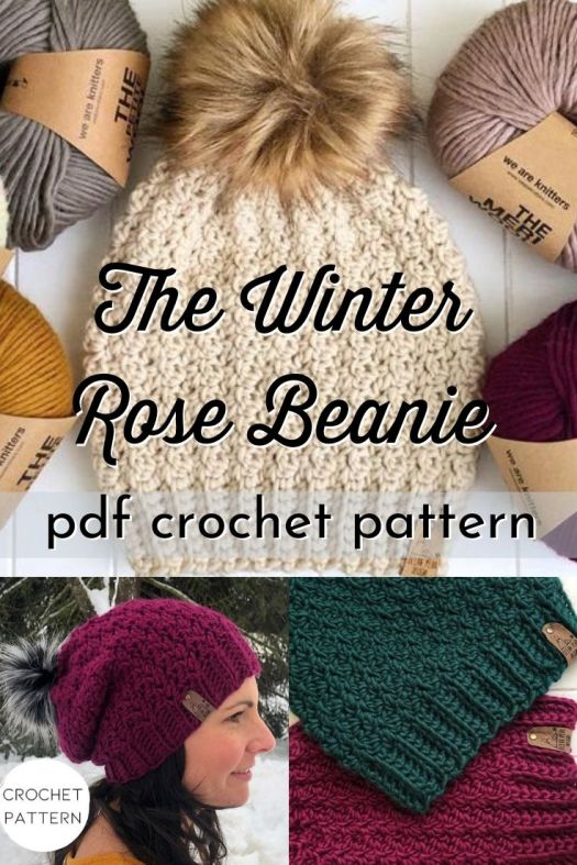 The Winter Rose Beanie crochet pattern is a gorgeous textured crochet toque pattern, perfect to chase off the winter chill with it's delicate texture and slouchy drape. Such a lovely pattern! #crochetbeaniepattern #crochethatpattern #crochetpattern #crochettoquepattern #craftevangelist