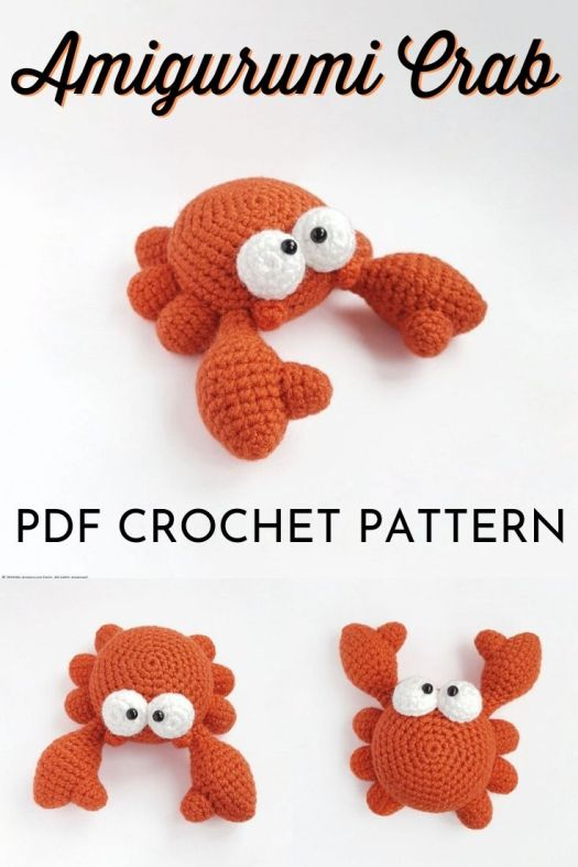 Amigurumi Crab crochet pattern. Such a sweet little crochet pattern for this adorable stuffed crab toy. What a fun sea creature handmade toy! #crochetpattern #crochettoy #amigurumipattern #patternroundup #craftevangelist