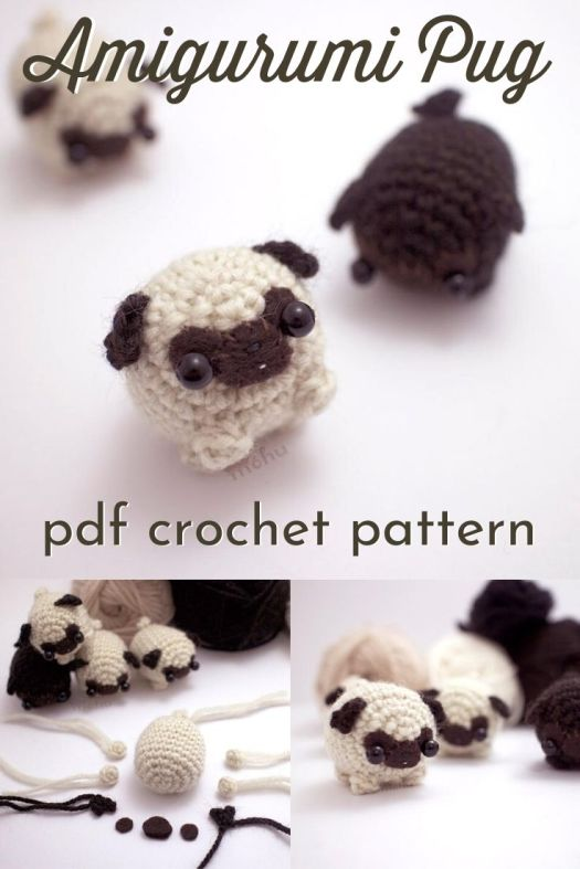Crochet your own cute amigurumi pug dog with this little crochet pattern! Make your own tiny stuffed toy pug. Makes a great keychain or last minute gift idea. #crochetpattern #amigurumipattern #crochetpug #puglife #amigurumipug #minipugpattern #crochet #craftevangelist #patternroundup