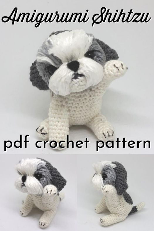Make your own little puppy keychain with this cute pattern! An adorable eyecatcher on your bag or give it away as a cute gift. With this adorable Shihtzu you will certainly not lose your keys! #crochetpattern #amigurumipattern #shihtzulife #handmadegift #patternroundup #craftevangelist