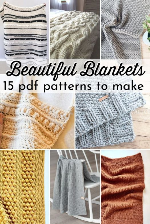 15 gorgeous throw blanket patterns to make. These lovely patterns are so versatile, including both knit and crochet patterns for beginners and experienced makers alike to make gorgeous baby blankets or afghans. #crochetpatterns #knittingpatterns #patternroundup #knitblankets #crochetblankets #craftevangelist